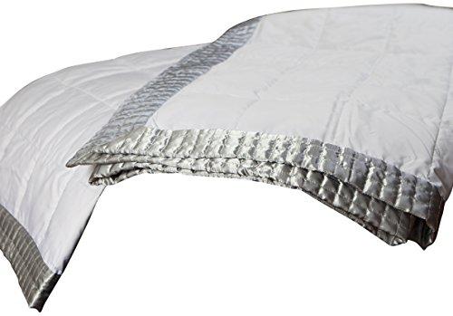 Allied Essentials Elegant Geo Shaped Satin Gel Fiber Filled Border Blanket, White/Silver, Full/Queen