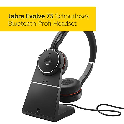 Jabra Evolve 75 UC Wireless Stereo On-Ear Headset - Unified Communications zertifizierte Kopfhörer mit langer Akkulaufzeit und Ladestation- USB Bluetooth Adapter - Schwarz