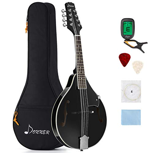 Donner A Style Mandolin Instrument Sunburst Mahogany DML-100B With Tuner String Big Bag and Guitar Picks, Black