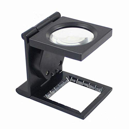Ioouooi Faltbare Skala-Lupe mit Led-Leuchten, 10X Metallschmuck-Lupe für Kleingedruckte Münzen und Briefmarkenkollektoren