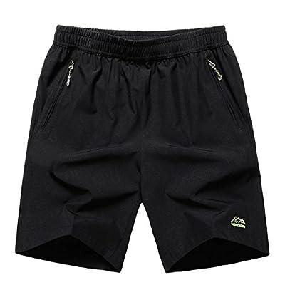 JINSHI Men's Outdoor Breather Quick Dry Lightweight Sports Hiking Shorts Zipper Pockets (02Black,M)
