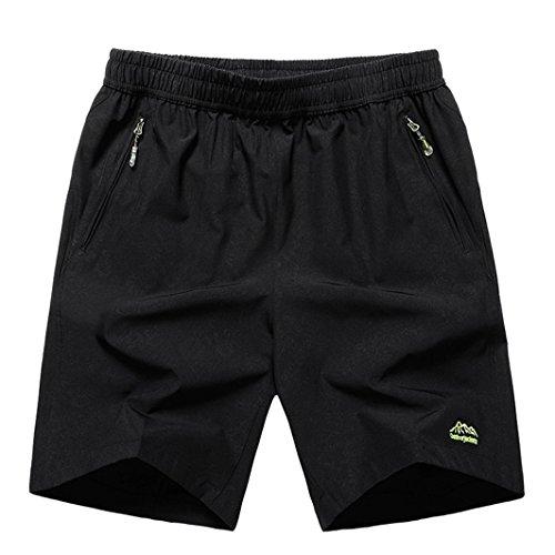donhobo Herren Kurze Hose Outdoor Sports Quick Dry Gym Laufshorts Training Jogging Shorts mit Reißverschlusstaschen(02Schwarz,M)