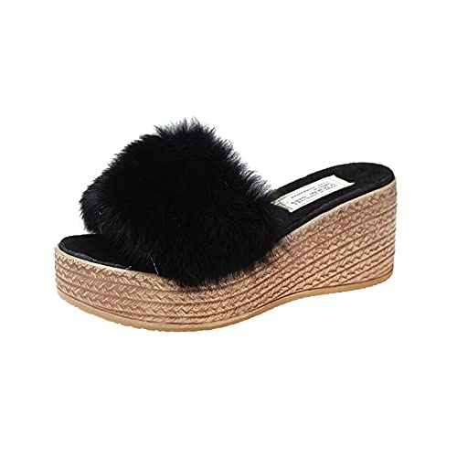Sandalias Mujer Plataforma Moda Zapatillas Mujer casa con platforma de Playa cuñas Esparto de Vestir Elegantes cómodo tacónes Mujer Verano Otoño Invierno Zapatos Mujer Casaul Antideslizante