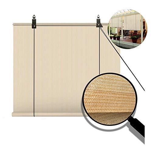 N / A Extérieur Store Enrouleur, Extérieur Écran Privé pour Terrasse De Jardin Pergola Dépôt De Parasols, 85% Résistant Aux UV PENGFEI (Color : Beige, Size : 90X220CM)