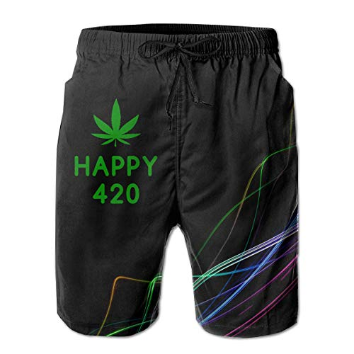 Jiger Happy 420 Cannabis Day Men's Board Shorts Swim Trunks Beachwear Surf Board Beach Home Beach Trunks