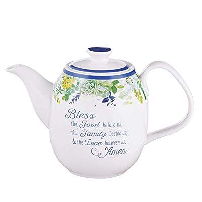Ceramic Teapot Bless The Food Prayer Blue Flower Tea For One Teapot For Women