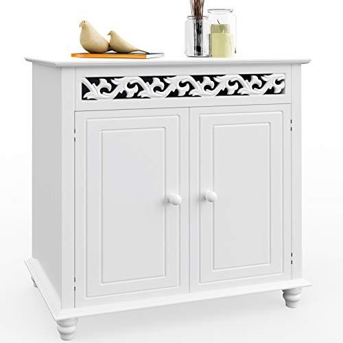 Deuba Kommode weiß Jersey mit 2 Türen Landhausstil Einlegeboden 76x65x35cm Sideboard Anrichte Schrank Holz Vintage Antik Wohnzimmer Schlafzimmer Bad