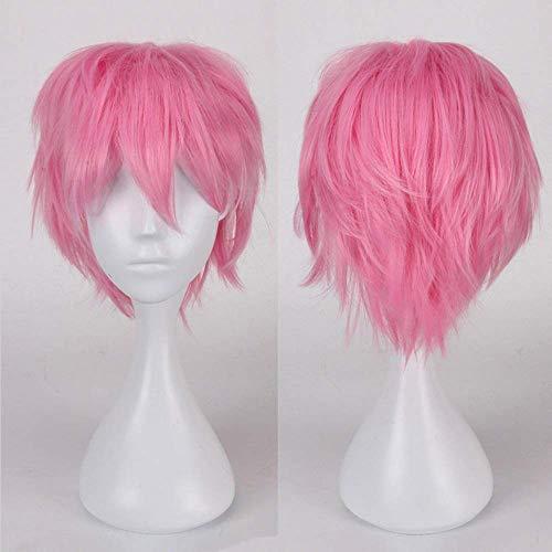 Perruque Femme Deguisement Cosplay Cheveux Court Femme Homme Fibre Synthetique Costume Unisex Halloween Carnaval - Rose