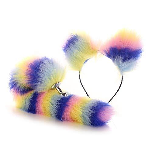 Buntes Anime Fox Set - Künstlicher Fuchsschwanz Büṭṭ Plǔģ und Ohren Stirnband Cosplay Kostüm Party Maskerade Requisiten (XS)