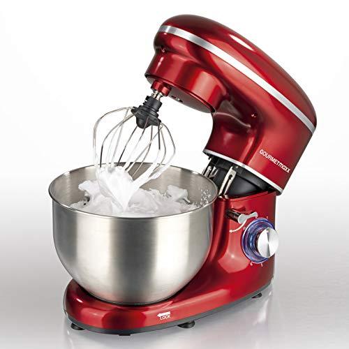 GOURMETmaxx Küchenmaschine mit Rührfunktion, Große Edelstahlschüssel, Leistungsstark mit Direktantrieb, 2in1 Knetmaschine und Rührmaschine (1500 Watt, Rot)