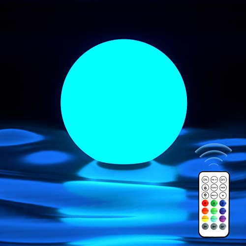 Homly Floating Pool Lights Ball with RF Remote, 16 Colors Changing LED Glowing Orb Hangable Night Light, Full Waterproof Cordless Hot Tub Bath Light Toys for Gift, Party, Indoor Outdoor Decor, 1 Set