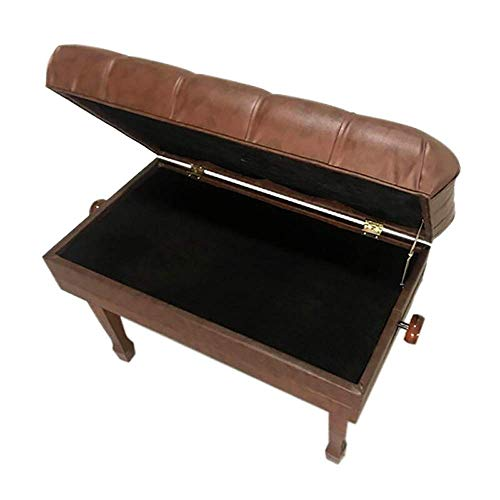 PIVFEDQX Piano Stool 2-Person Waterproof Piano Keyboard Bench Soft Thicken Adjustable Stool with Storage Comfortable Seating Experience (Color : Coffee, Size : 85x45x58cm)