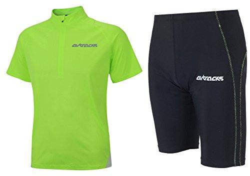 Airtracks FUNKTIONS-LAUFSET - Laufhose KURZ NEON/Running Hose + Laufshirt Kurzarm AIR TECH/Running T-Shirt - neon-schwarz - L