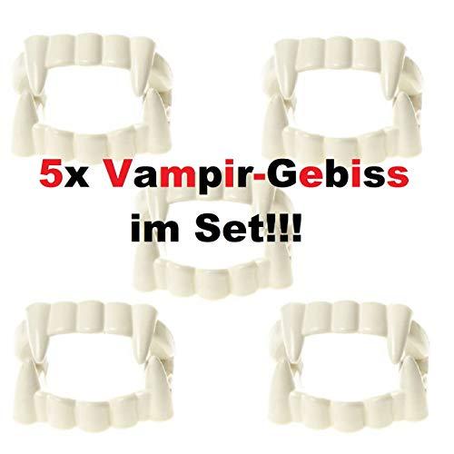 Lg-Imports 5X Gebiss Vampirzähne Zähne Dracula Halloween Fasching Kostüm Deko für Kinder