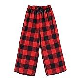 Girl's Buffalo Plaid Pajama Pants Kids Soft Sleepwear Casual PJ Bottoms (Red Plaid, 6-7 Years)