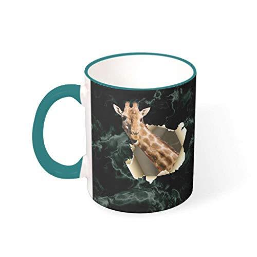 Bohohobo Divertida taza de café con jirafa en el árbol, pintura linda, vajilla de cerámica para lavavajillas, regalo para amigos con capacidad de 330 ml