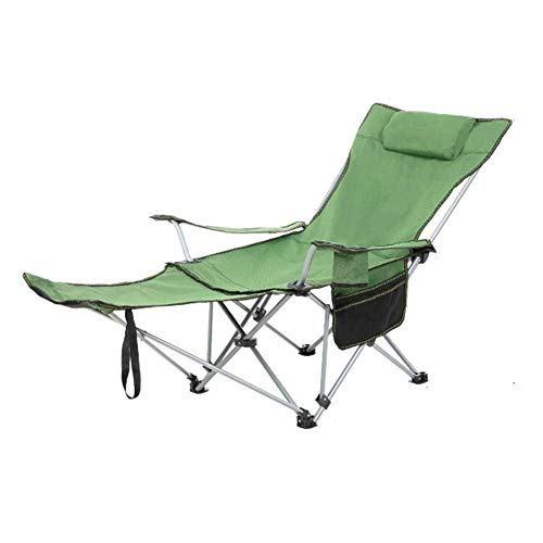 Adult Outdoor Leisure Metal Folding Chair,Sitting and Lying Dual-use,Portable Backrest,Fishing Camping Beach,Non-Slip and Wear-Resistant D-20-10-23 (Color : Green)