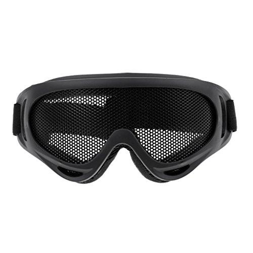 Taktische Schutzbrille Aus Stahlgeflecht Jagdschießbrille Augenschutz - Schwarz
