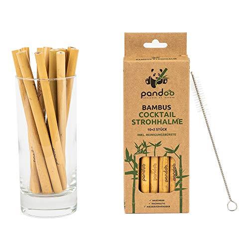 Pandoo, cannucce da cocktail in 100% bambù, con spazzola per la pulizia, cannucce riutilizzabili ed ecologiche, 100% biodegradabili