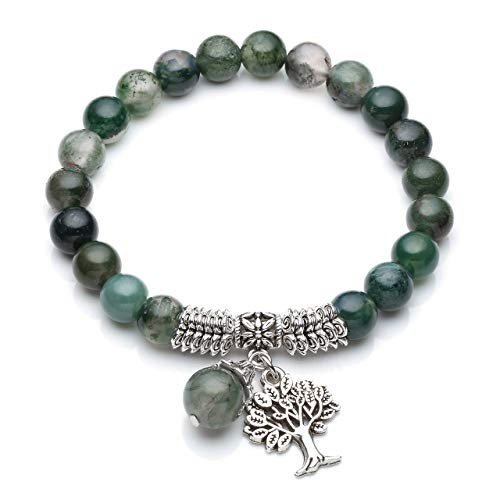 Top Plaza Stretch Moss Agate Tree of Life Lucky Stone Bracelet Reiki Healing Crystal Gemstone Dangle Charms Pendant Birthstone Bracelet(6.2')