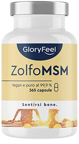 Integratore MSM Puro 99,9% Metilsulfonilmetano, Zolfo Organico MSM, 1600mg, 365 capsule vegan (6 mesi), per la Salute di Ossa e Articolazioni, Antinfiammatorio Muscolare, Clinicamente Testato