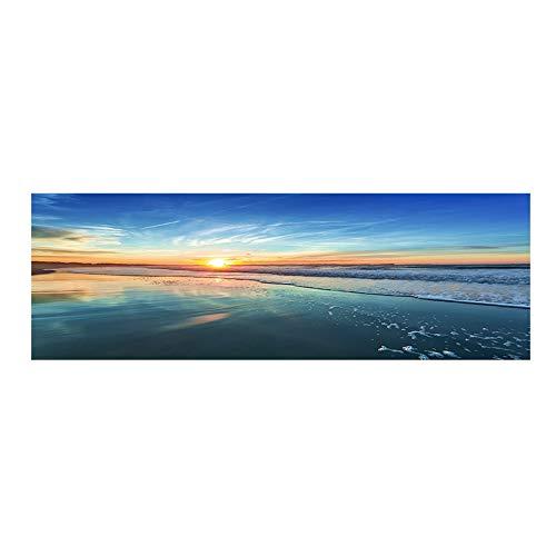 ASFDF Cuadro panorámico de paisaje de nubes del cielo atardecer, playa del mar natural, panorámica, lienzo, cuadros e impresiones de pared, para sala de estar