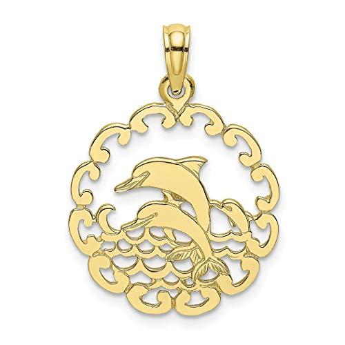 Colgante de delfines saltando de oro de 10 quilates - más alto grado de oro que el oro de 9 quilates