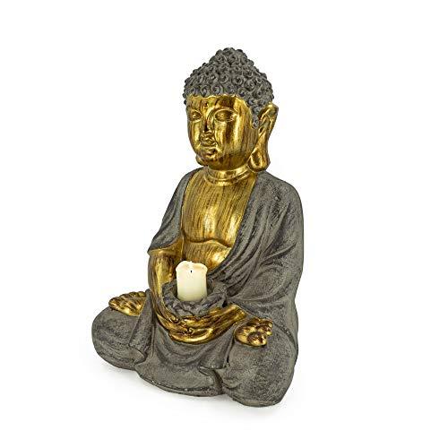 Rivanto® Sitzende Buddha Statue mit Kerzenhalter, Höhe 45 cm, Steinoptik Deko Figur mit goldener Haut, für Innen & Außenbereich