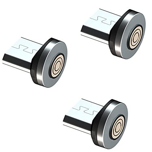 MIGRALEX Paquete de 3 adaptadores de Punta magnética Micro USB/Enchufe/Cabezal/Enchufe, Compatible con Samsung S6 S7, Kindle y más Dispositivos Micro USB,SIN Cable (Paquete de 3 Conectores Micro USB)