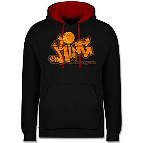 Shirtracer Basketball - Basketball King - XXL - Schwarz/Rot JH003 - Hoodie zweifarbig und Kapuzenpullover für Herren und Damen