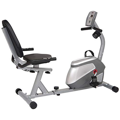 Body Champ Magnetic Recumbent Exercise Bike, Low-Impact Exercise Indoor Cycling Bike for Cardio Fitness, Equipment for Home Gym BRB852, Black/Silver, one Size