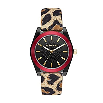Michael Kors Women's Channing Stainless Steel Quartz Watch with Leather Strap, Multicolor, 20 (Model: MK2855)