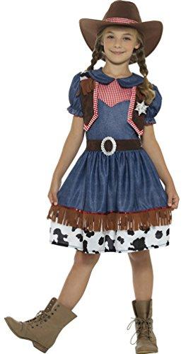 Karnevalsbud - Kinder Texanisches Cowgirl-Kostüm mit Hut Mädchen Cowboykostüm, 140-152, 10-12 Jahre, Mehrfarbig