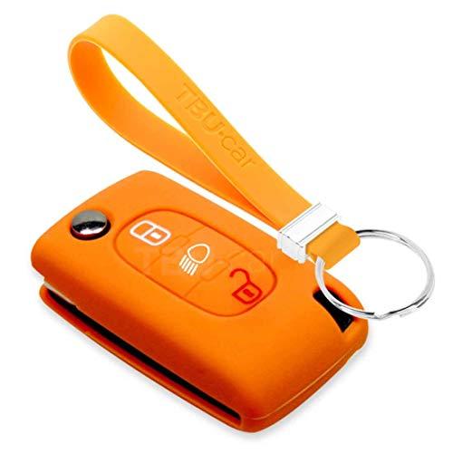 TBU car Funda Carcasa Llave Compatible con Peugeot - Funda de Silicona - Cover de Llave Coche - Naranja