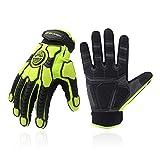 Heavy Duty Work Gloves, SBR Padding, TPR Protector Impact Gloves, Men Anti Vibration Mechanic Work Gloves TouchScreen (L, Green)