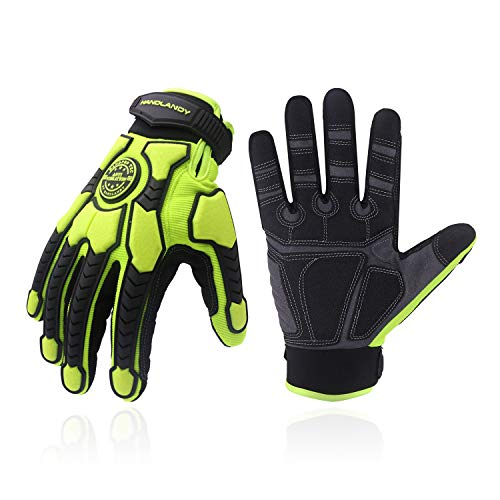 Heavy Duty Work Gloves, SBR Padding, TPR Protector Impact Gloves, Men Anti Vibration Mechanic Work Gloves TouchScreen (M, Green)