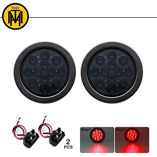 TMH 2pcs 4 Inch 12 Super Bright LED Stop Tail Turn Brake Light Smoked Lens Red Assembly Rubber Mount Grommet for Trucks Trailers
