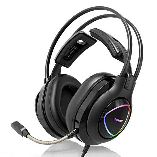 Tronsmart Alpha Casque Gaming avec Micro pour PS4 Xbox One PC, Casque de Jeu avec Control Audio Intégré, Surround Ecouteur de Jeux Stéréo avec Réduction de Bruit/LED Lumières/Pilote 50 mm