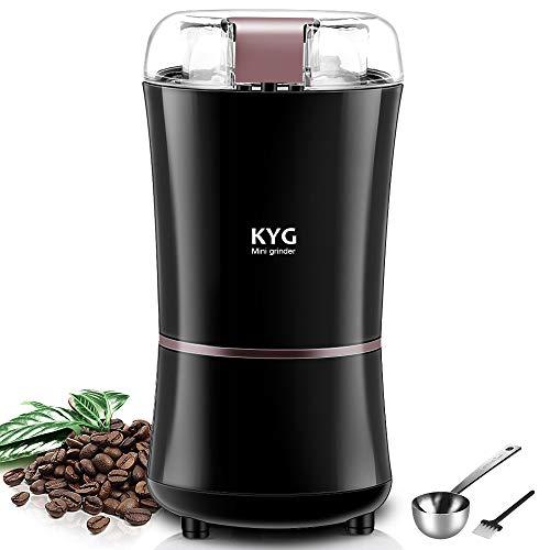 KYG Kaffeemühle 300W Elektrische Kaffeemühle Kaffeebohnen Nüsse Gewürze Getreide Mühle mit Edelstahlmesser 50g Fassungsvermögen schwarz MEHRWEG