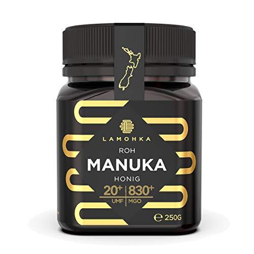 Lamohka Roher Manuka Honig aus Neuseeland, UMF 20+ (MGO 830+) zertifiziert, für Haut, Lebensmittel - natürlicher, nicht pasteurisierter Honig aus Nektar von Manuka Tree Flower