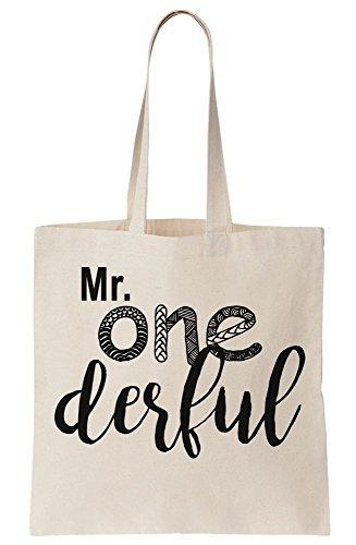 graphke Mr. One Derful Wonderful Unique Pun Funny Canvas Tote Bag