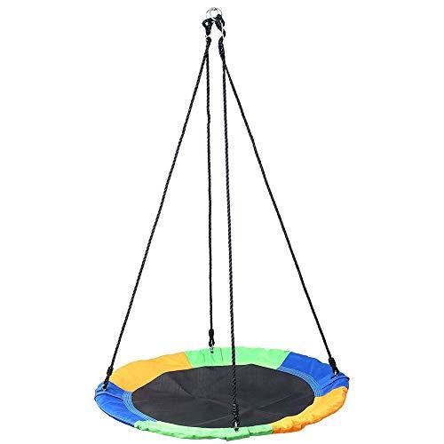 HBIAO Babyschaukel für Kinder, Kinderschaukel, 40 '' Saucer Tree Swing Fliegen im Innen- und Außenbereich, für große Räume oder Innenhöfe
