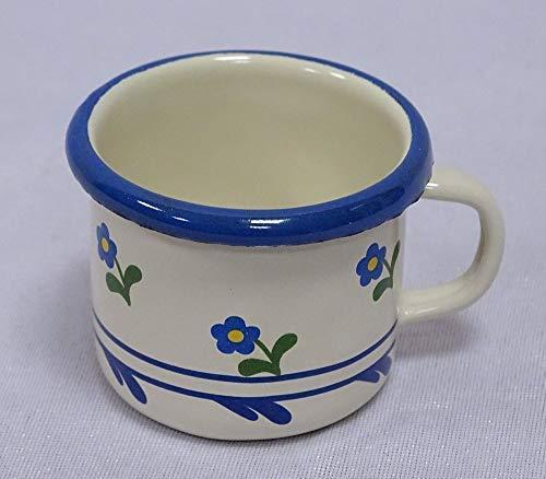 linoows Emaille Espressotasse, Moccatasse, Schnapsbecher, Creme Blümchen 5 cm
