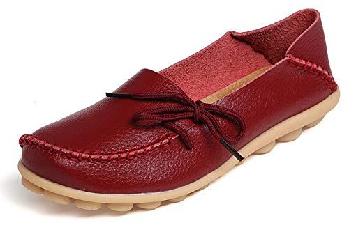 Eagsouni Damen Mokassins Bootsschuhe Leder Loafers Freizeit Schuhe Flache Fahren Halbschuhe Casual Slippers, Weinrot A, 43 EU