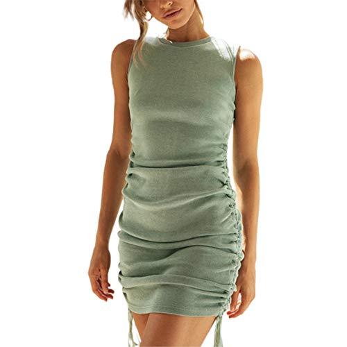 Mosiolya Damenkleid mit seitlichem Kordelzug, kurzes Kleid, gerüscht, dehnbar, ärmellos, figurbetont, Tankkleid (Grün, M)