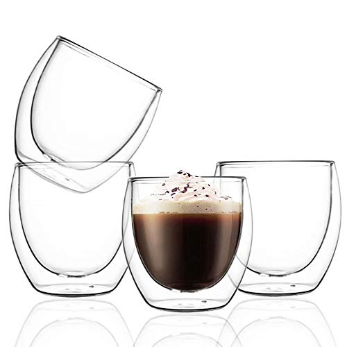 Set of 4, Espresso Cups Shot Glass- 2.7-Ounce (Top to The Rim), FutGlobal Double Wall Thermo InsulatedCoffee Glasses for Coffee, Tea, Desserts and Cocktails