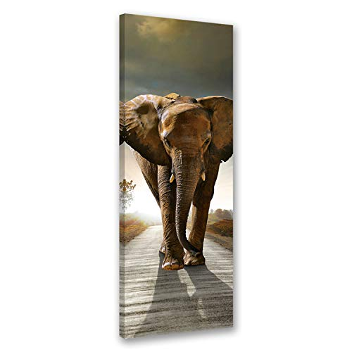 Feeby. Wandbild - 1 Teilig - 40x120 cm, Leinwand Bild Leinwandbilder Bilder Wandbilder Kunstdruck, ELEFANT, NATUR, BRAUN