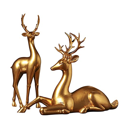 LGYKUMEG Goldenes Hirsch Weinregal, Hirsch Figur, Moderne Hirsch Statue Skulptur, Set Aus 2 Harz Weihnachtsskulpturen, Home Office Schreibtisch Dekoration Ornamente,Gold,2pcs