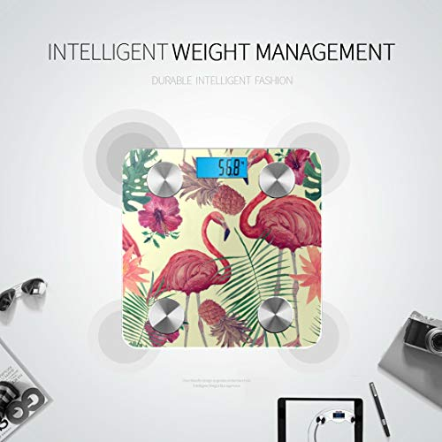 GIRLOS Vintage Watercolor Tropic Flamingo Pineapple Flowe Weigh Scale Best Rated Bathroom Scales Bodyfat Scale Tracks 8 Key Compositions Analyzer Sync with Fitness Apps 400 Lbs