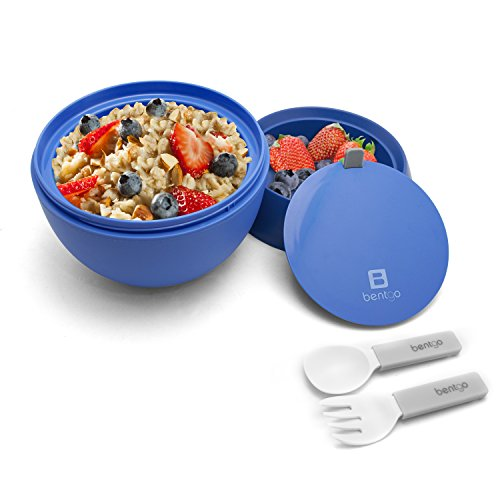 Bentgo Bowl (Blue) – Insulated, BPA-Free Lunch Container with Collapsible Utensils Set – Leakproof Bowl Holds Soups, Stews, Noodles, Hot Cereals & More On-the-Go